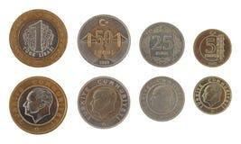 Turkiska mynt som isoleras på White Arkivfoton