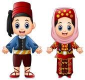 Turkiska par för tecknad film som bär traditionella dräkter vektor illustrationer
