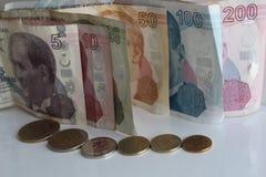 Turkiska pengar Arkivfoto