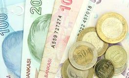 Turkiska sedlar och mynt Royaltyfria Foton