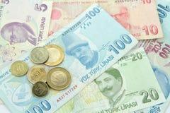 Turkiska sedlar och mynt Fotografering för Bildbyråer