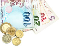 Turkiska sedlar och mynt Royaltyfria Bilder