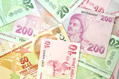 turkiska sedlar Turkisk Lira (TL) Fotografering för Bildbyråer