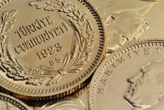 Turkiskt guld- myntar Fotografering för Bildbyråer