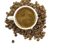 Turkiskt kaffe med kaffebönor Arkivbild