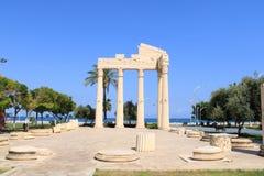 Turkiskt Mersin Mezitli, 3 Juni, - 2019: Touristic ställen, utomhus- museum royaltyfri bild