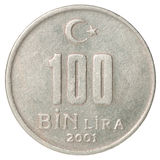 Turkiskt mynt Fotografering för Bildbyråer