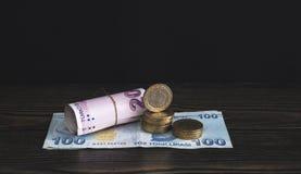 Turkiskt pengarpapper och mynt lagerför fotoet royaltyfri fotografi