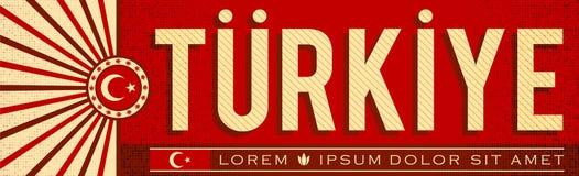 Turkiye, Indyczy patriotyczny sztandaru projekt, typograficzna wektorowa ilustracja, turecczyzny flaga barwi ilustracji