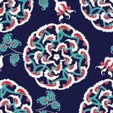 TurkIznik tegelplatta, sömlös islamisk modell med den orientaliska kurvan vektor illustrationer