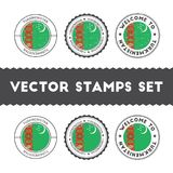 Turkmen flag rubber stamps set. National flags grunge stamps. Country round badges collection Royalty Free Stock Photography