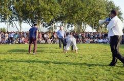 Turkmen wrestling in Istanbul Stock Images