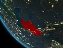 Turkmenistán en la noche de la órbita stock de ilustración