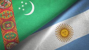 Turkmenistan and Argentina two flags textile cloth, fabric texture. Turkmenistan and Argentina flags together textile cloth, fabric texture royalty free illustration