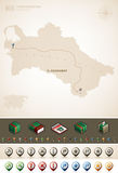 Turkmenistan. And Asia maps, plus extra set of isometric icons & cartography symbols set (part of the World Maps Set Royalty Free Stock Photography