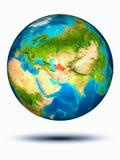Turkmenistan auf Erde mit weißem Hintergrund Stockbild