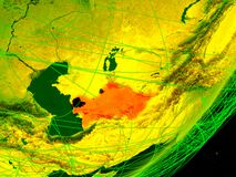 Turkmenistan on digital Earth vector illustration