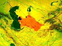 Turkmenistan on digital map royalty free illustration