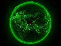 Turkmenistan on Earth with network stock illustration