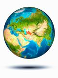 Turkmenistan on Earth with white background. Turkmenistan in red on model of planet Earth hovering in space. 3D illustration isolated on white background stock image
