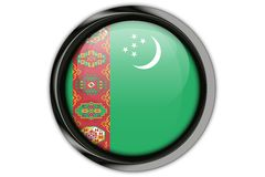 Turkmenistan flag in the button pin Isolated on White Background Stock Images