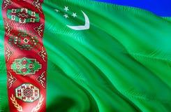Turkmenistan flag. 3D Waving flag design. The national symbol of Turkmenistan, 3D rendering. National colors and National CIS flag. Of Turkmenistan for a royalty free stock images