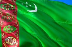 Turkmenistan flag. 3D Waving flag design. The national symbol of Turkmenistan, 3D rendering. The national symbol of Turkmenistan. Background wallpaper. CIS flag stock photography