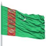 Turkmenistan Flag on Flagpole Royalty Free Stock Photo
