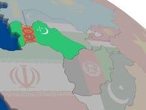 Turkmenistan with flag Stock Photos