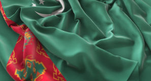 Turkmenistan Flag Ruffled Beautifully Waving Macro Close-Up Shot. Studio Stock Images