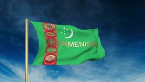 Turkmenistan flag slider style with title. Waving stock video footage