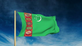 Turkmenistan flag slider style. Waving in the wind stock footage
