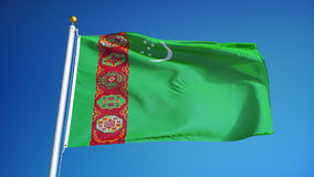 Turkmenistan flag in slow motion seamlessly looped with alpha stock footage