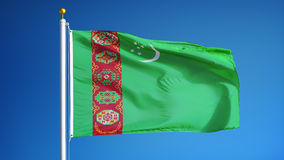 Turkmenistan flag in slow motion seamlessly looped with alpha stock video
