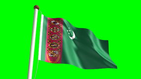 Turkmenistan flag stock footage
