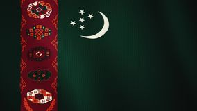 Turkmenistan flag waving animation. Full Screen. Symbol of the country. 4K stock video