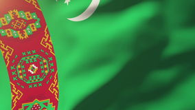 Turkmenistan flag waving in the wind. Looping sun stock video