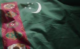 Turkmenistan flaga Miętoszący zakończenie W górę obrazy stock