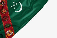 Turkmenistan flagga av tyg med copyspace f?r din text p? vit bakgrund royaltyfri illustrationer