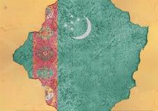 Turkmenistan flaggaabstrakt begrepp i vägg för agg för fasadstruktur stor skadad arkivfoto