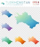 Turkmenistan geometric polygonal maps, mosaic. Turkmenistan geometric polygonal maps, mosaic style country collection. Ecstatic low poly style, modern design Stock Photos