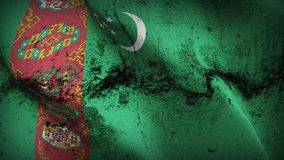 Turkmenistan grunge dirty flag waving on wind. Turkmen background fullscreen grease flag blowing on wind. Realistic filth fabric texture on windy day Stock Photos