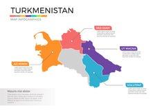 Turkmenistan het vectormalplaatje van kaartinfographics met gebieden en wijzertekens vector illustratie
