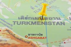 Turkmenistan kaart Stock Foto's