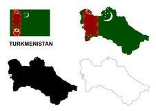 Turkmenistan map vector, Turkmenistan flag vector, isolated Turkmenistan Royalty Free Stock Photos