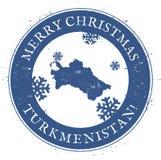 Turkmenistan map. Vintage Merry Christmas. Stock Photography