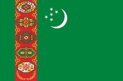 Turkmenistan national flag. Official flag of Turkmenistan, accurate colors. True color Stock Photos