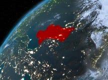 Turkmenistan op aarde in ruimte bij nacht Royalty-vrije Stock Afbeelding