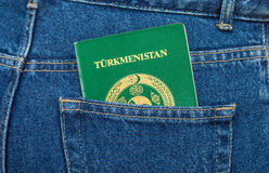 Turkmenistan passport in the jeans pocket Royalty Free Stock Images