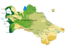Turkmenistan physical map royalty free stock photography